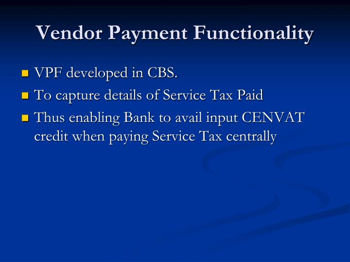 Vendor Payment Functionality