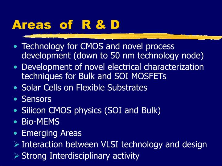 Areas  of  R & D