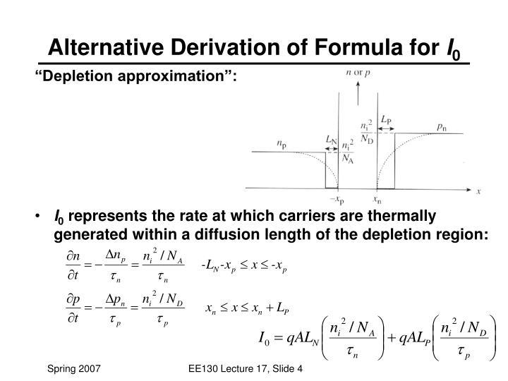Alternative Derivation of Formula for