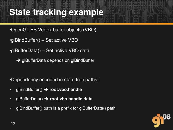 State tracking example