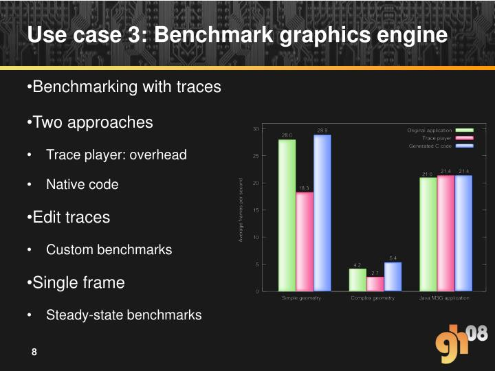 Use case 3: Benchmark graphics engine