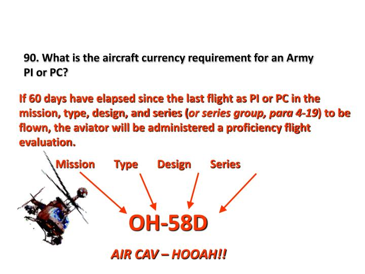 90. What is the aircraft currency requirement for an Army PI or PC?