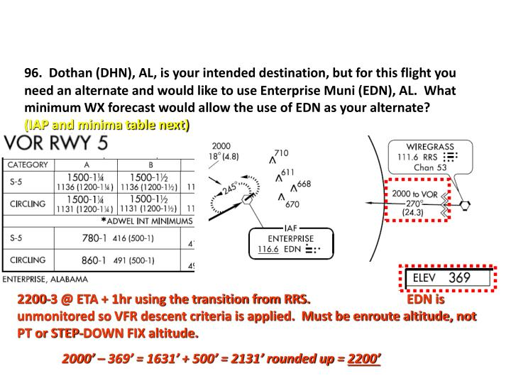 96.  Dothan (DHN), AL, is your intended destination, but for this flight you need an alternate and would like to use Enterprise Muni (EDN), AL.  What minimum WX forecast would allow the use of EDN as your alternate?