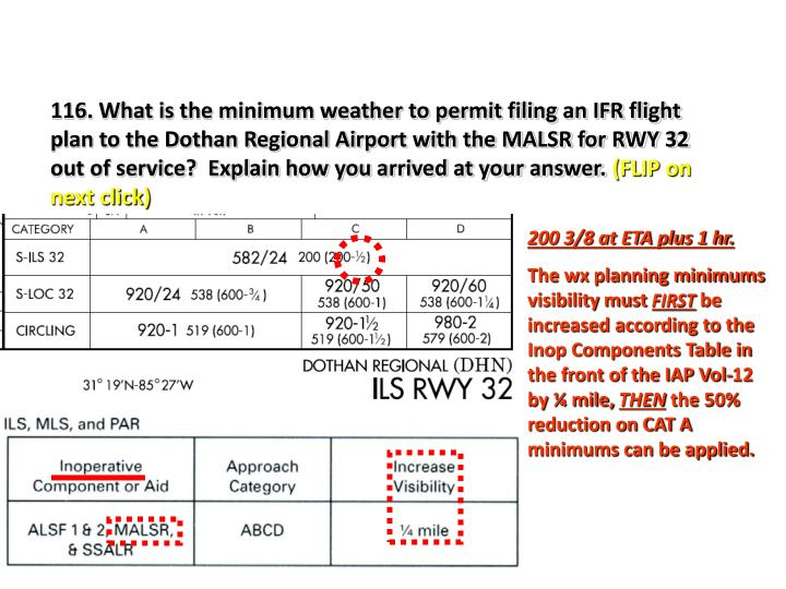 116. What is the minimum weather to permit filing an IFR flight plan to the Dothan Regional Airport with the MALSR for RWY 32 out of service?  Explain how you arrived at your answer.