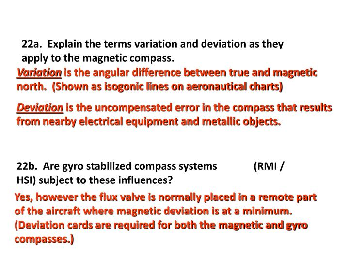 22a.  Explain the terms variation and deviation as they apply to the magnetic compass.