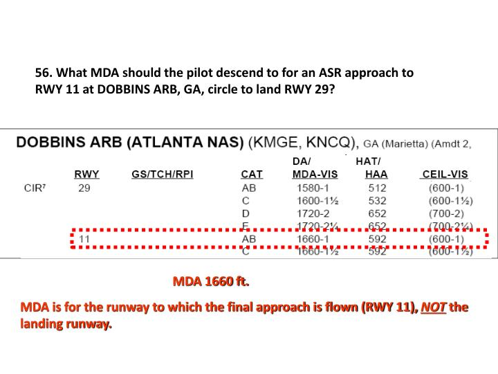 56. What MDA should the pilot descend to for an ASR approach to RWY 11 at DOBBINS ARB, GA, circle to land RWY 29?