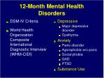 12 month mental health disorders