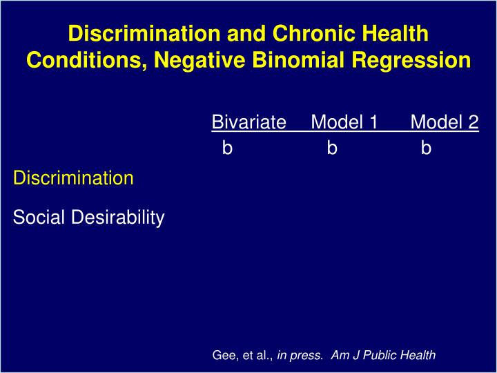 Discrimination and Chronic Health Conditions, Negative Binomial Regression