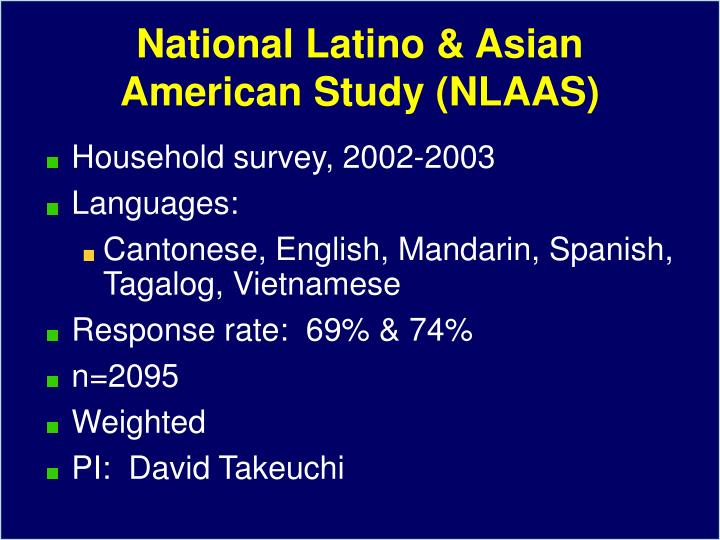 National Latino & Asian American Study (NLAAS)