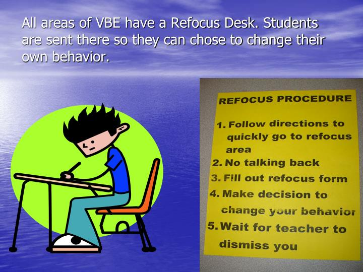 All areas of VBE have a Refocus Desk. Students are sent there so they can chose to change their own behavior.