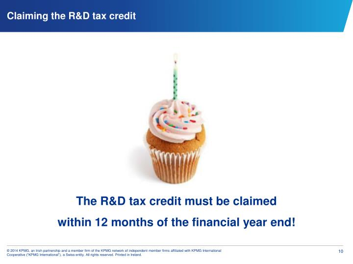 Claiming the R&D tax credit