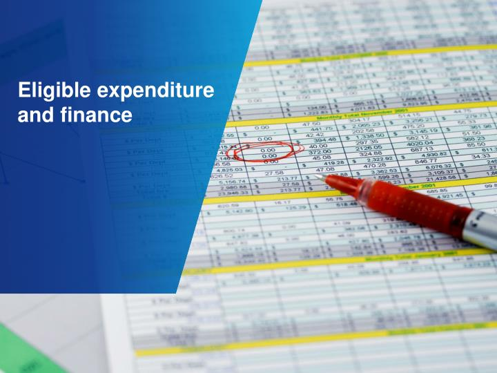 Eligible expenditure and finance