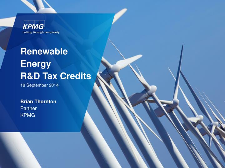 Renewable energy r d tax credits 18 september 2014
