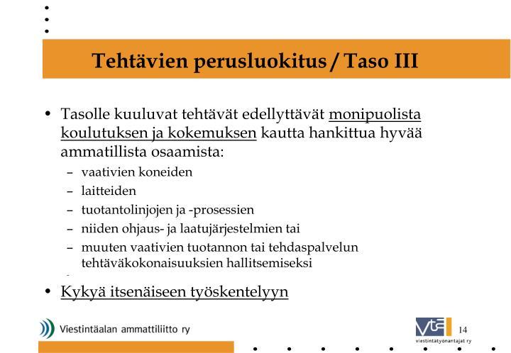 Tehtävien perusluokitus / Taso III