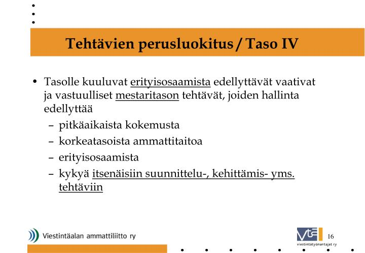 Tehtävien perusluokitus / Taso IV