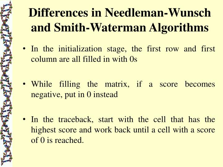 Differences in Needleman-Wunsch and Smith-Waterman Algorithms