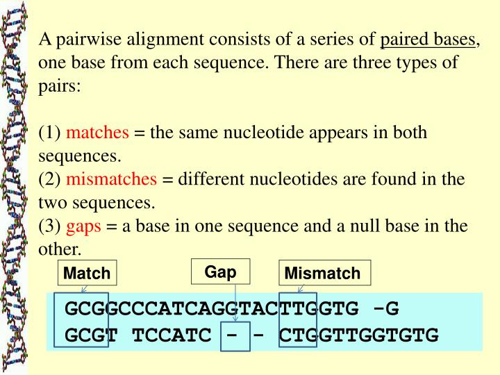 A pairwise alignment consists of a series of