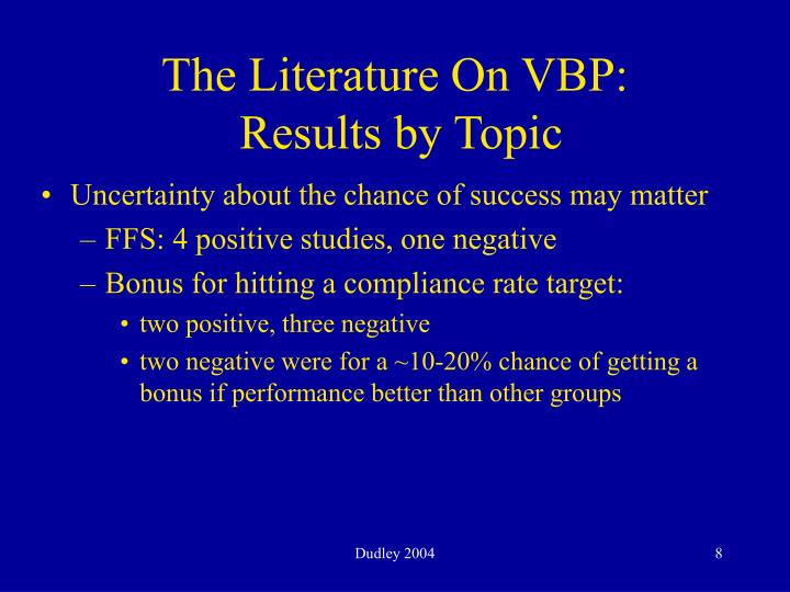 The Literature On VBP:
