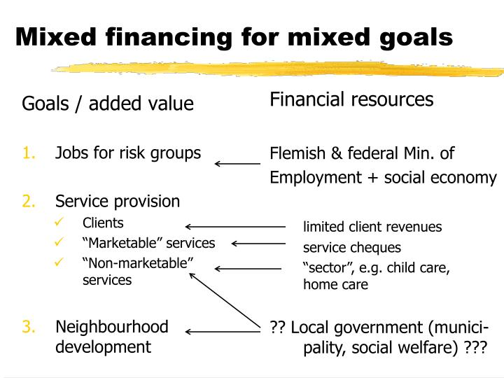 Mixed financing for mixed goals