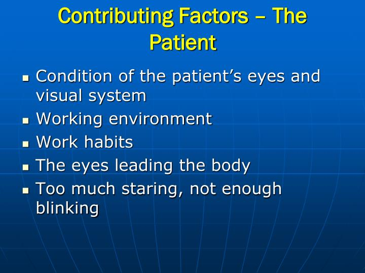 Contributing Factors – The Patient