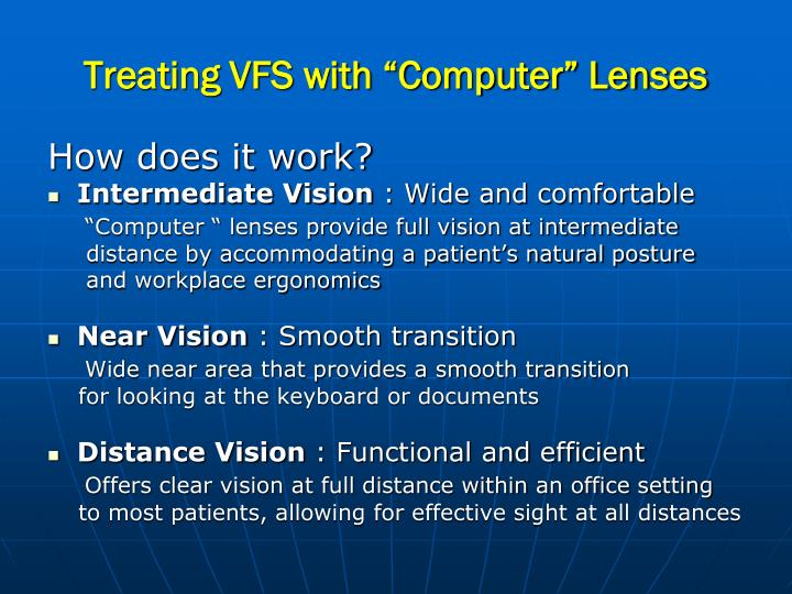 "Treating VFS with ""Computer"" Lenses"
