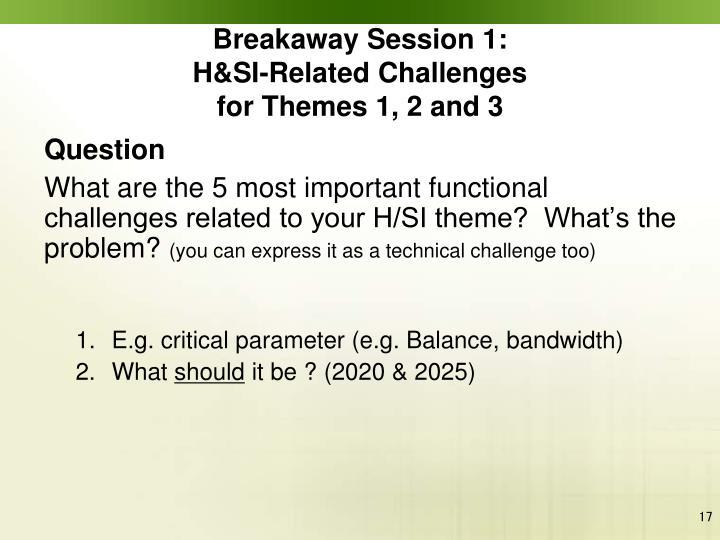 Breakaway Session 1: