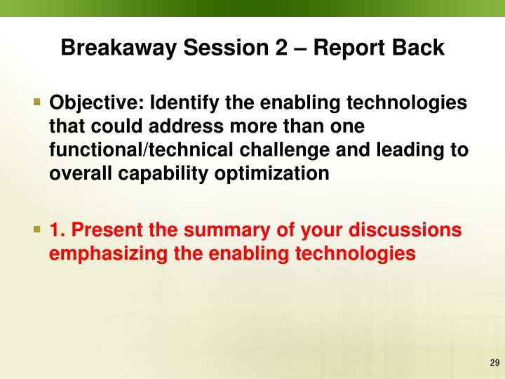 Breakaway Session 2 – Report Back