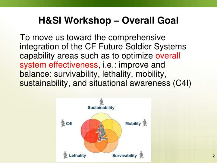 H&SI Workshop – Overall Goal
