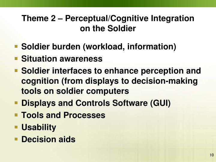 Theme 2 – Perceptual/Cognitive Integration