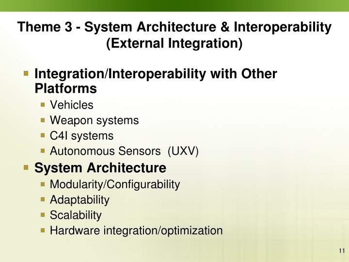 Theme 3 - System Architecture & Interoperability