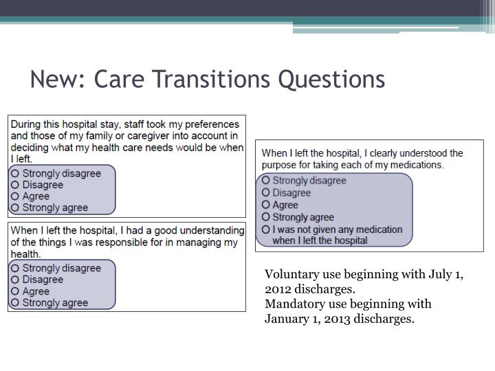 New: Care Transitions Questions