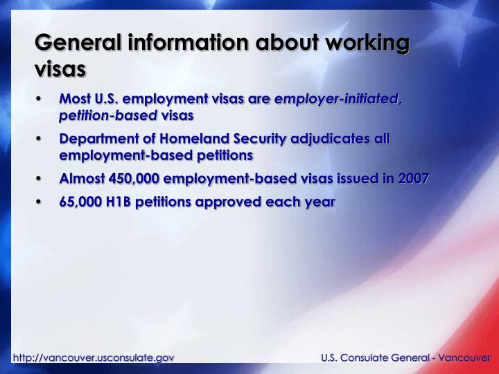General information about working visas
