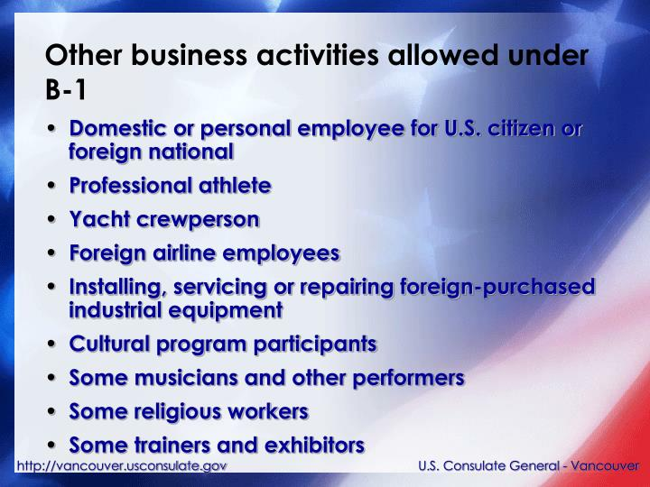 Other business activities allowed under B-1