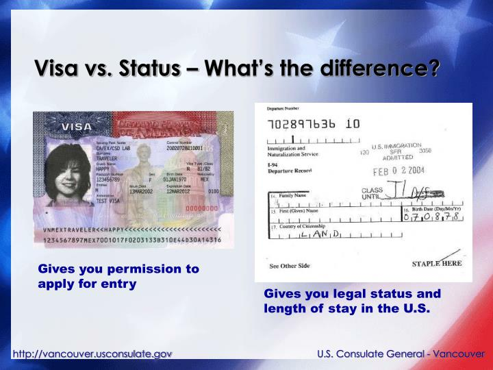 Visa vs status what s the difference