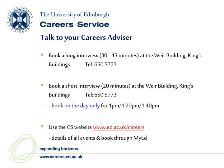 Talk to your Careers Adviser