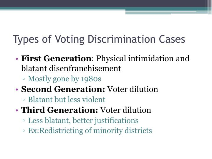 Types of Voting Discrimination Cases