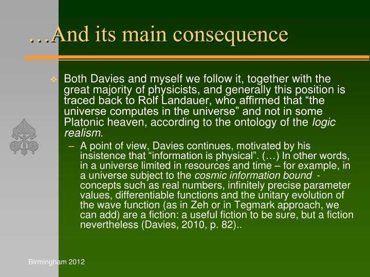 …And its main consequence