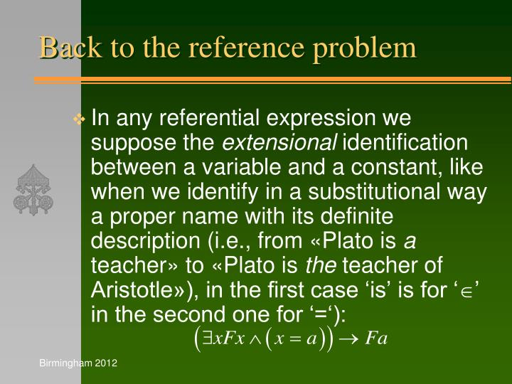 Back to the reference problem