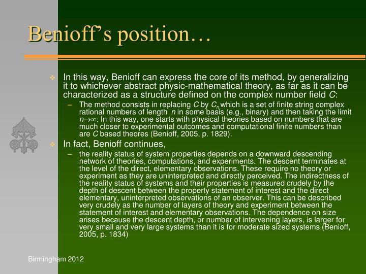 Benioff's position…