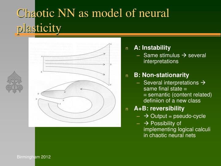 Chaotic NN as model of neural plasticity