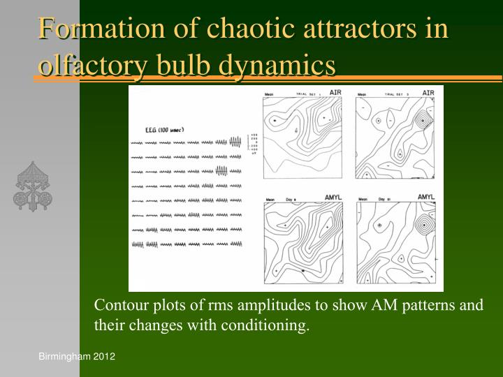 Formation of chaotic attractors in olfactory bulb dynamics