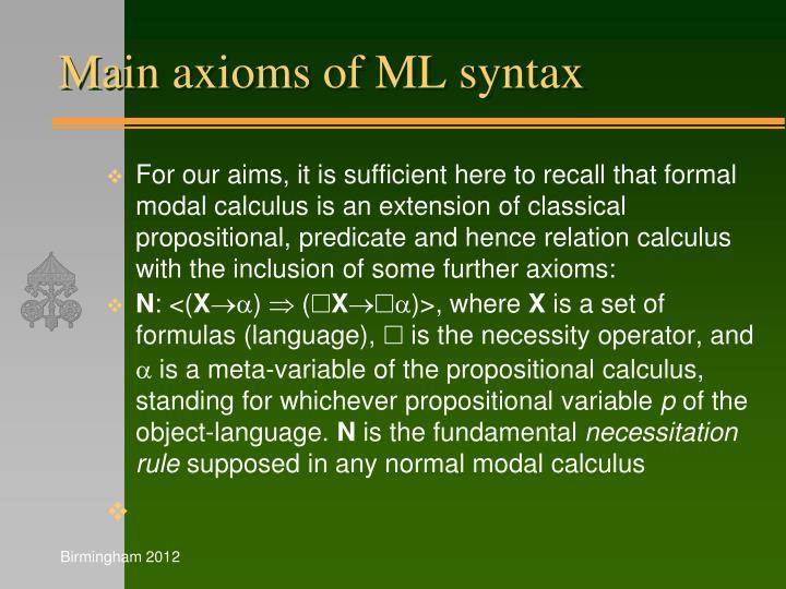 Main axioms of ML syntax