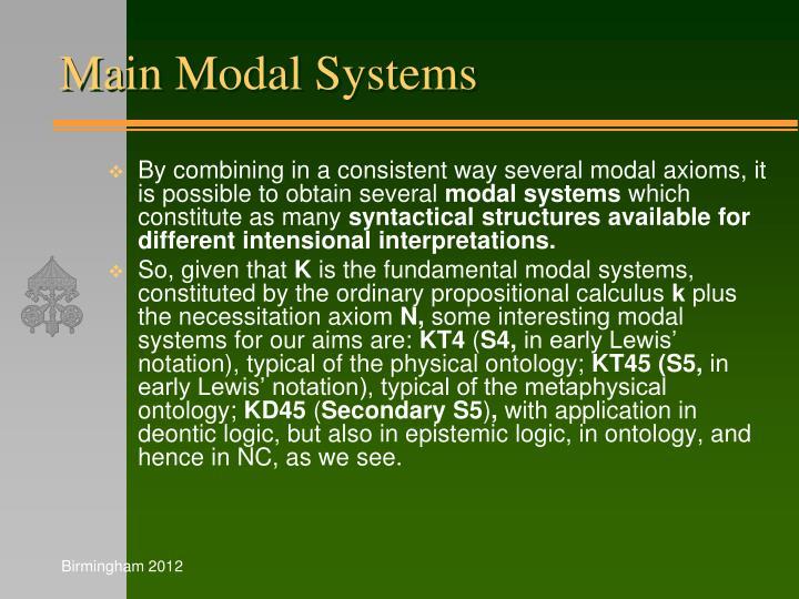 Main Modal Systems