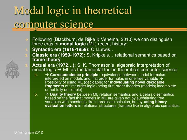 Modal logic in theoretical computer science