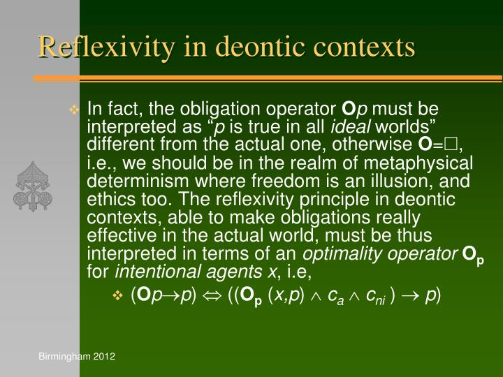Reflexivity in deontic contexts