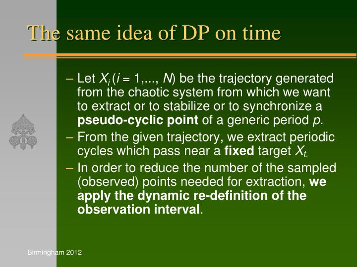 The same idea of DP on time