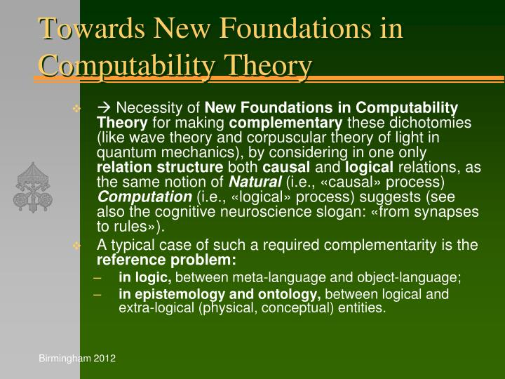 Towards New Foundations in Computability Theory