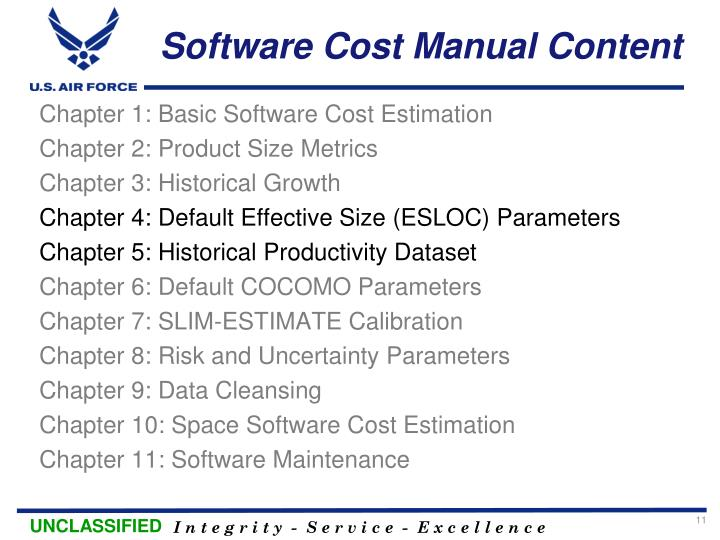 Software Cost Manual Content