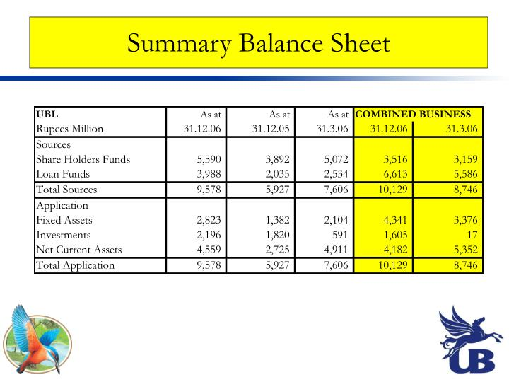 Summary Balance Sheet