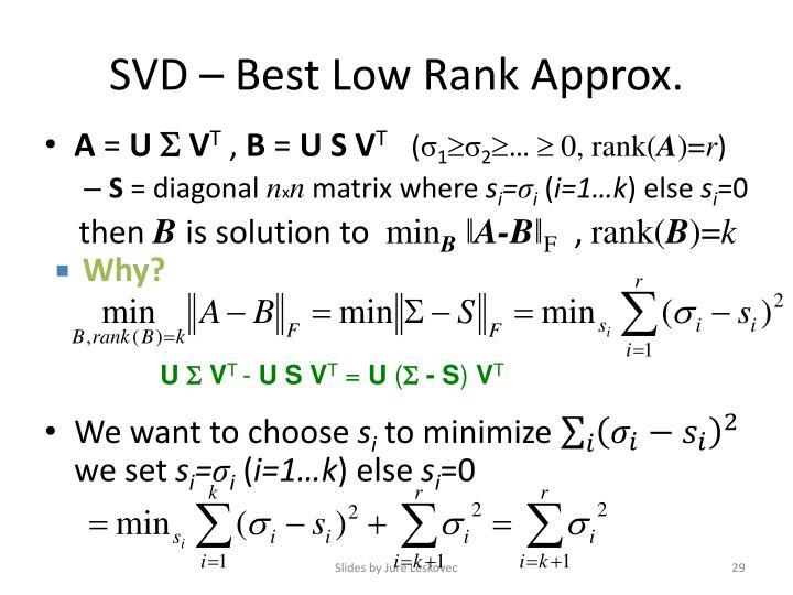 SVD – Best Low Rank Approx.